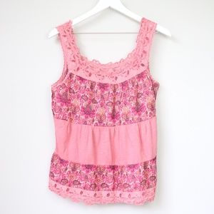 NEW Lucky Brand Pink Lace Neckline Tank Top Blouse